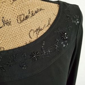 George•Black l/s embellished dressy top•sz.Med.